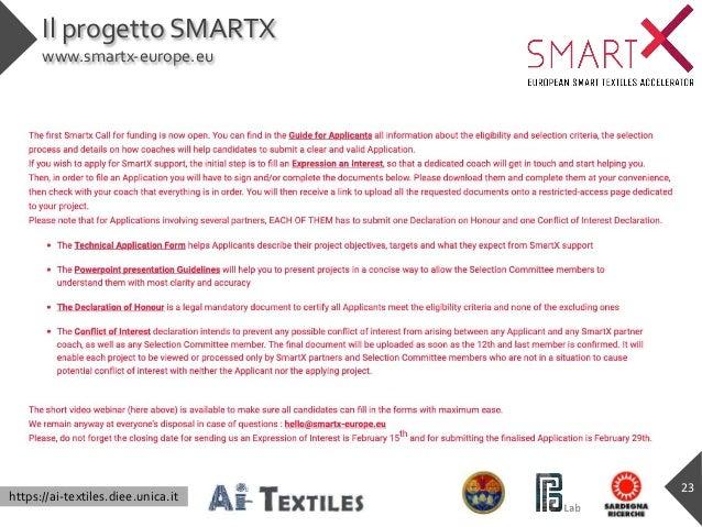 https://ai-textiles.diee.unica.it Il progetto SMARTX www.smartx-europe.eu 23