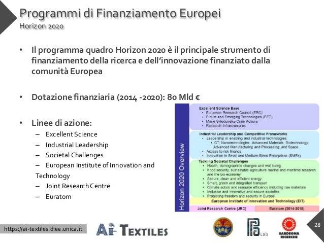 https://ai-textiles.diee.unica.it Programmi di Finanziamento Europei Horizon 2020 • Il programma quadro Horizon 2020 è il ...