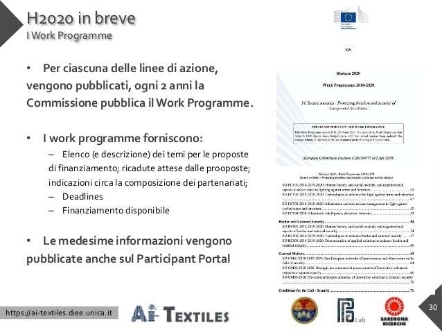 https://ai-textiles.diee.unica.it H2020 in breve IWork Programme • Per ciascuna delle linee di azione, vengono pubblicati,...