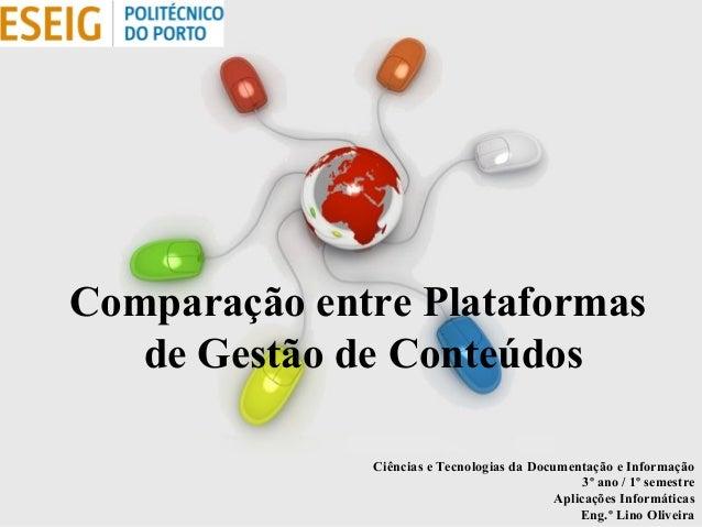 Free Powerpoint Templates Page 1 Free Powerpoint Templates Comparação entre Plataformas de Gestão de Conteúdos Ciências e ...