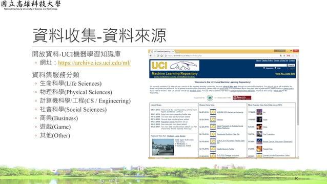 資料收集-資料來源 開放資料-UCI機器學習知識庫 ◦ 網址:https://archive.ics.uci.edu/ml/ 資料集服務分類 ◦ 生命科學(Life Sciences) ◦ 物理科學(Physical Sciences) ◦ 計...