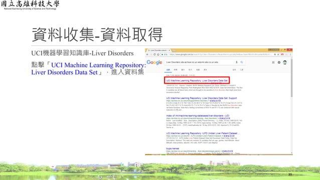 資料收集-資料取得 UCI機器學習知識庫-Liver Disorders 點擊「UCI Machine Learning Repository: Liver Disorders Data Set」,進入資料集 39