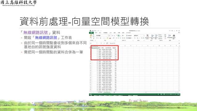 「無線網路訊號」資料 ◦ 開啟「無線網路訊號」工作表 ◦ 由於同一個時間點會收到多個來自不同 基地台的訊號強度資料 ◦ 需把同一個時間點的資料合併為一筆 資料前處理-向量空間模型轉換 52