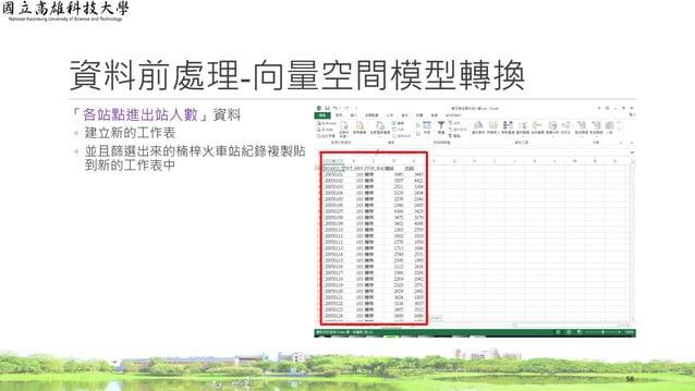 資料前處理-向量空間模型轉換 「各站點進出站人數」資料 ◦ 建立新的工作表 ◦ 並且篩選出來的楠梓火車站紀錄複製貼 到新的工作表中 58