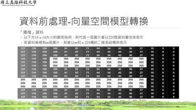 資料前處理-向量空間模型轉換 「圖檔」資料 ◦ 以下方15 x 15大小的圖例為例,則代表一張圖片會以225個資料屬性來表示 ◦ 若資料庫裡有m張圖片,則會以m列 x 225欄的二維表結構來表示 64