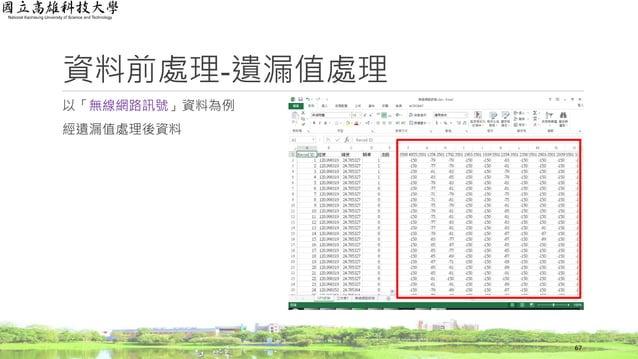 以「無線網路訊號」資料為例 經遺漏值處理後資料 資料前處理-遺漏值處理 67