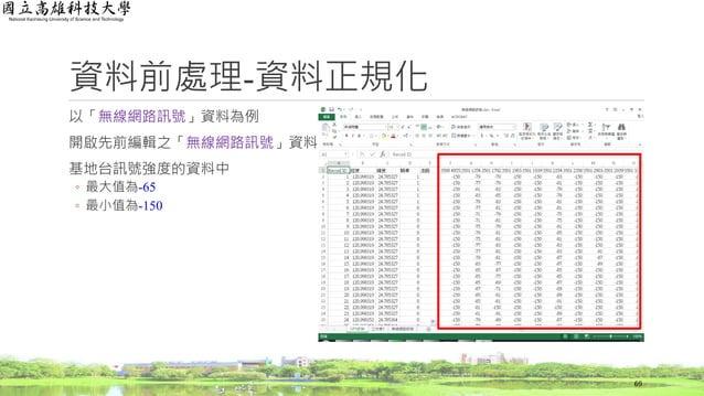 以「無線網路訊號」資料為例 開啟先前編輯之「無線網路訊號」資料 基地台訊號強度的資料中 ◦ 最大值為-65 ◦ 最小值為-150 資料前處理-資料正規化 69