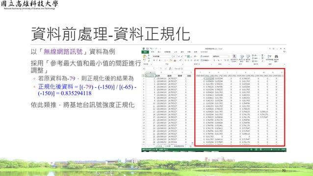 以「無線網路訊號」資料為例 採用「參考最大值和最小值的間距進行 調整」 ◦ 若原資料為-79,則正規化後的結果為 ◦ 正規化後資料 = [(-79) - (-150)] / [(-65) - (-150)] = 0.835294118 依此類推...
