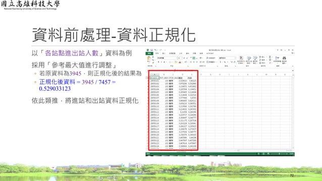 以「各站點進出站人數」資料為例 採用「參考最大值進行調整」 ◦ 若原資料為3945,則正規化後的結果為 ◦ 正規化後資料 = 3945 / 7457 = 0.529033123 依此類推,將進站和出站資料正規化 資料前處理-資料正規化 72
