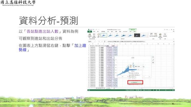 資料分析-預測 以「各站點進出站人數」資料為例 可觀察到進站和出站分佈 在圖表上方點滑鼠右鍵,點擊「加上趨 勢線」 81