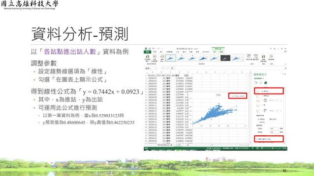 資料分析-預測 以「各站點進出站人數」資料為例 調整參數 ◦ 設定趨勢線選項為「線性」 ◦ 勾選「在圖表上顯示公式」 得到線性公式為「y = 0.7442x + 0.0923」 ◦ 其中,x為進站,y為出站 ◦ 可運用此公式進行預測 ◦ 以第一...