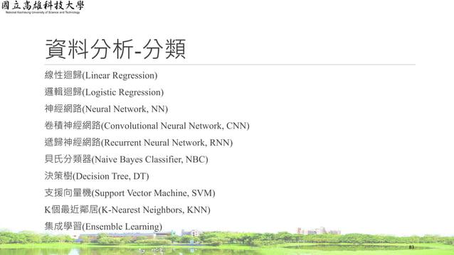資料分析-分類 線性迴歸(Linear Regression) 邏輯迴歸(Logistic Regression) 神經網路(Neural Network, NN) 卷積神經網路(Convolutional Neural Network, CN...