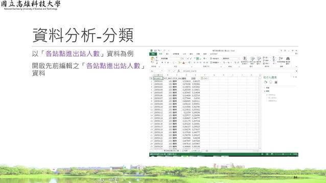 以「各站點進出站人數」資料為例 開啟先前編輯之「各站點進出站人數」 資料 資料分析-分類 84