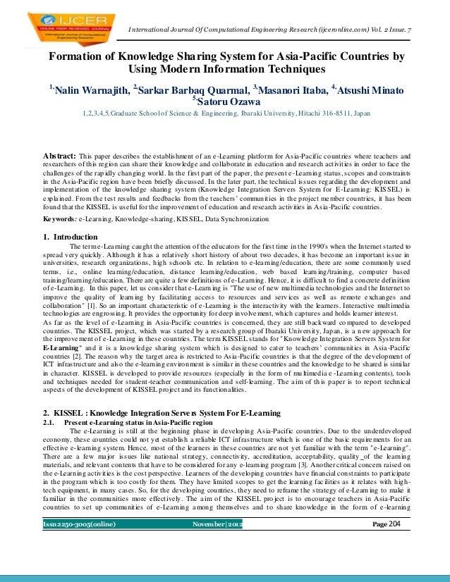I nternational Journal Of Computational Engineering Research (ijceronline.com) Vol. 2 Issue. 7 Formation of Knowledge Shar...