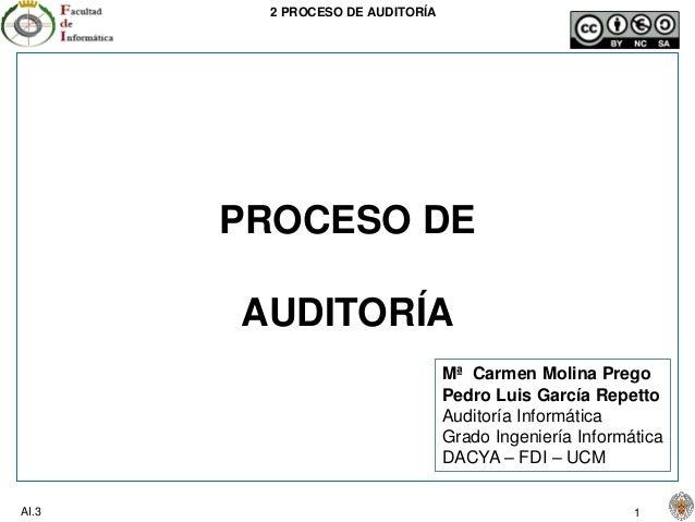 2 PROCESO DE AUDITORÍA AI.3 1 PROCESO DE AUDITORÍA Mª Carmen Molina Prego Pedro Luis García Repetto Auditoría Informática ...