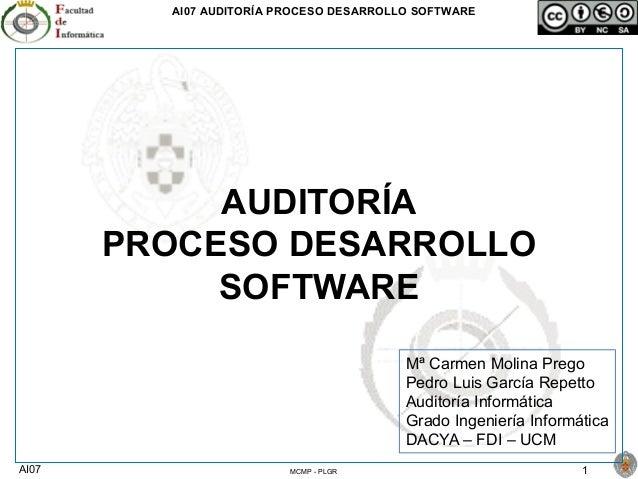 AI07 AUDITORÍA PROCESO DESARROLLO SOFTWARE AI07 1MCMP - PLGR AUDITORÍA PROCESO DESARROLLO SOFTWARE Mª Carmen Molina Prego ...