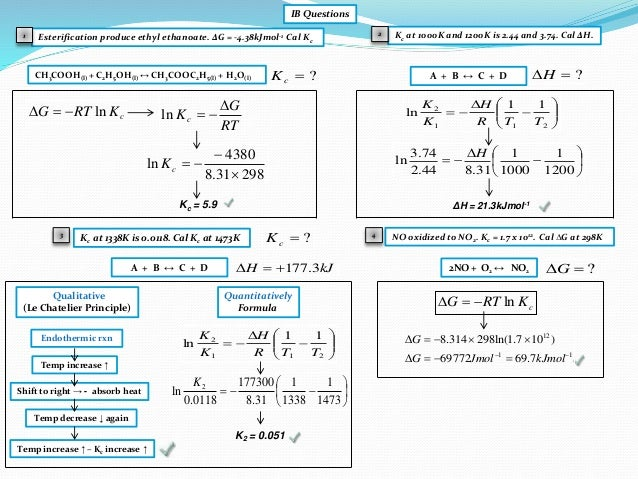 Ib Chemistry On Gibbs Free Energy And Equilibrium Constant Kc
