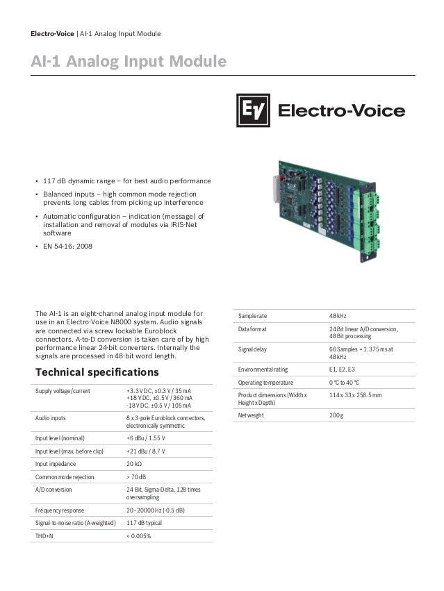 Electro-Voice | AI-1 Analog Input Module AI-1 Analog Input Module ▪ 117 dB dynamic range – for best audio performance ▪ Ba...