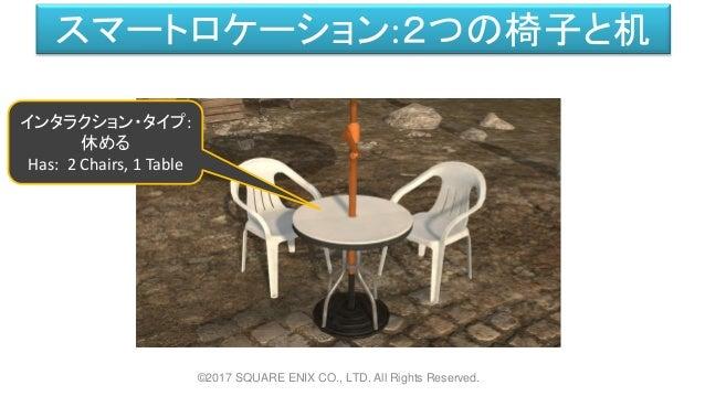 スマートロケーション:2つの椅子と机 ©2017 SQUARE ENIX CO., LTD. All Rights Reserved. インタラクション・タイプ: 休める Has: 2 Chairs, 1 Table