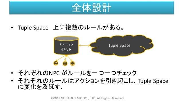 全体設計 • Tuple Space 上に複数のルールがある。 • それぞれのNPC がルールを一つ一つチェック • それぞれのルールはアクションを引き起こし、Tuple Space に変化を及ぼす. ©2017 SQUARE ENIX CO....
