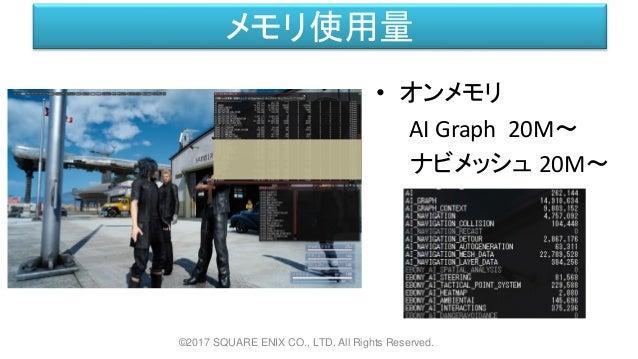 メモリ使用量 • オンメモリ AI Graph 20M~ ナビメッシュ 20M~ ©2017 SQUARE ENIX CO., LTD. All Rights Reserved.