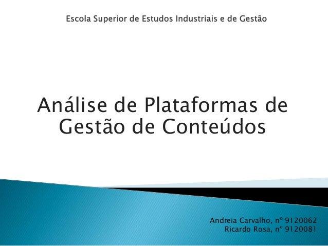 Análise de Plataformas de  Gestão de Conteúdos  Andreia Carvalho, nº 9120062  Ricardo Rosa, nº 9120081