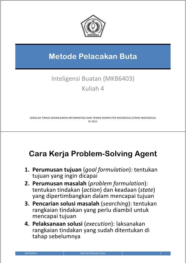 Metode Pelacakan Buta                  Inteligensi Buatan (MKB6403)                              Kuliah 4    SEKOLAH TINGG...