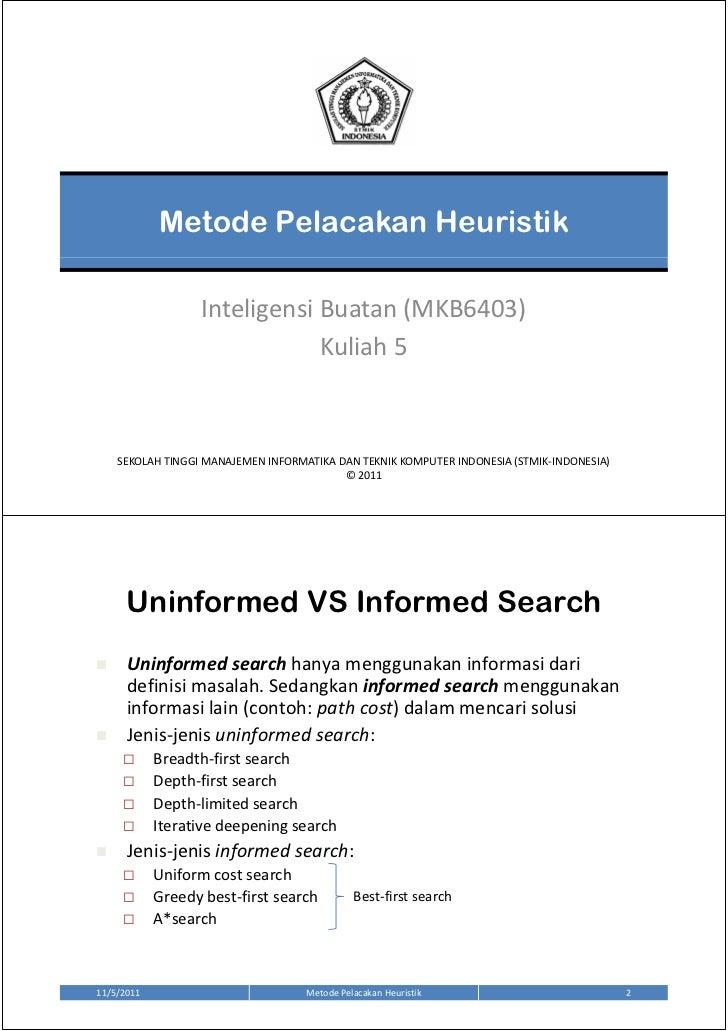 Metode Pelacakan Heuristik                  Inteligensi Buatan (MKB6403)                              Kuliah 5    SEKOLAH ...