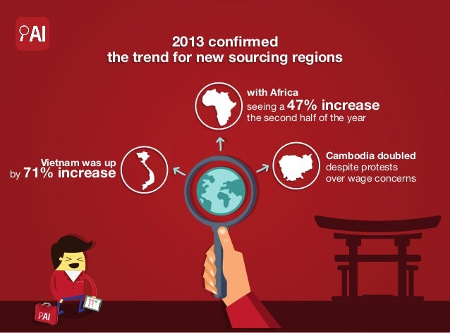 2013 confirmed the trend for new sourcing regions with Africa seeing a 47% increase the second half of the year  Vietnam w...