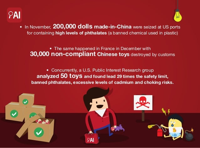 • In November, 200,000 dolls made-in-China were seized at US ports for containing high levels of phthalates (a banned che...