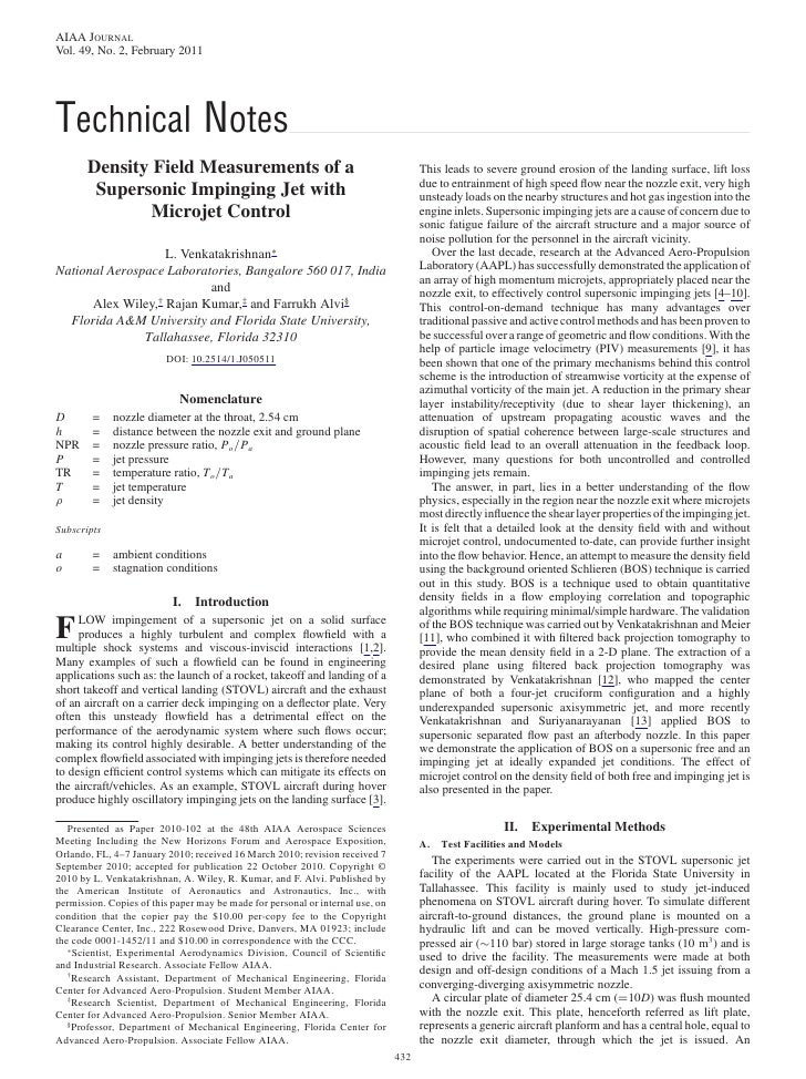 AIAA JOURNALVol. 49, No. 2, February 2011Technical Notes       Density Field Measurements of a                            ...