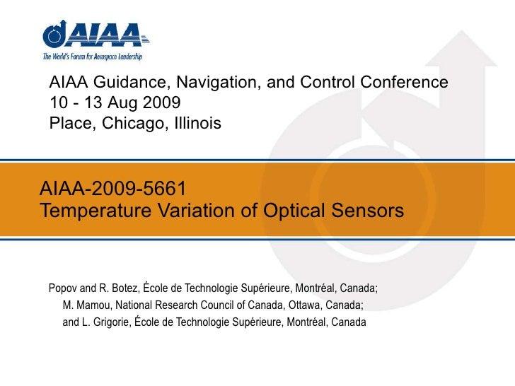 AIAA-2009-5661  Temperature Variation of Optical Sensors Popov and R. Botez, École de Technologie Supérieure, Montréal, Ca...