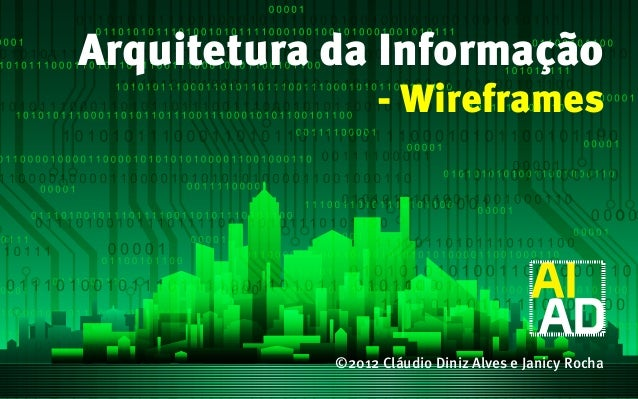 Arquitetura da Informação                  - Wireframes            ©2012 Cláudio Diniz Alves e Janicy Rocha