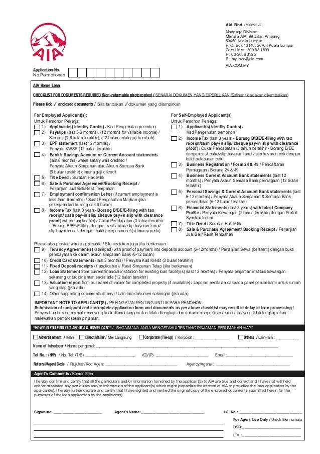 CHECKLIST FOR DOCUMENTS REQUIRED (Non-returnable photocopies) / SENARAI DOKUMEN YANG DIPERLUKAN (Salinan tidak akan dikemb...
