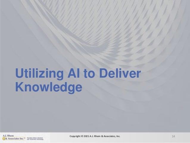 Utilizing AI to Deliver Knowledge 14 Copyright © 2021 A.J. Rhem & Associates, Inc.