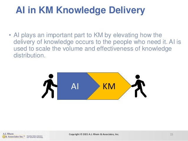 AI in KM Knowledge Delivery • AI plays an important part to KM by elevating how the delivery of knowledge occurs to the pe...