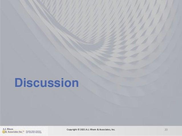 Discussion 20 Copyright © 2021 A.J. Rhem & Associates, Inc.