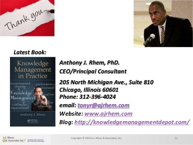 Anthony J. Rhem, PhD. CEO/Principal Consultant 205 North Michigan Ave., Suite 810 Chicago, Illinois 60601 Phone: 312-396-4...
