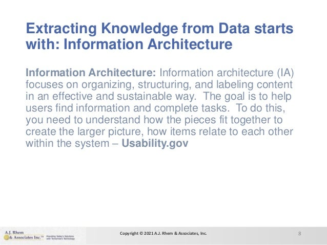Extracting Knowledge from Data starts with: Information Architecture Information Architecture: Information architecture (I...