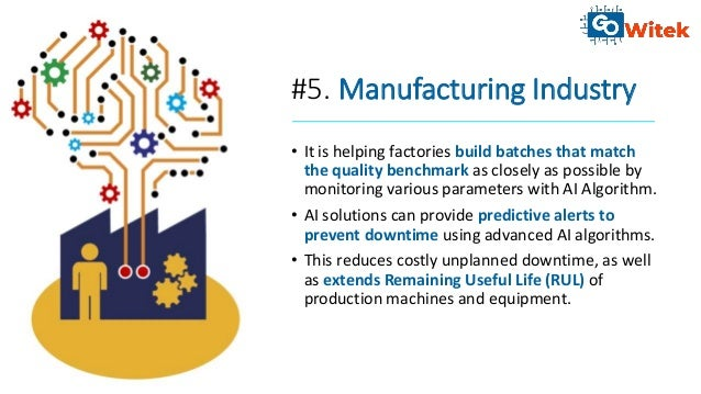 #5. Manufacturing Industry • It is helping factories build batches that match the quality benchmark as closely as possible...