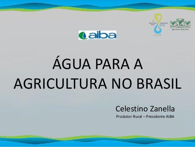ÁGUA PARA A AGRICULTURA NO BRASIL Celestino Zanella Produtor Rural – Presidente AIBA