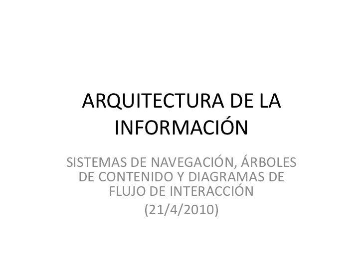 ARQUITECTURA DE LA INFORMACIÓN<br />SISTEMAS DE NAVEGACIÓN, ÁRBOLES DE CONTENIDO Y DIAGRAMAS DE FLUJO DE INTERACCIÓN<br />...
