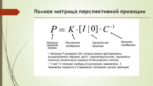 Полная матрица перспективной проекции