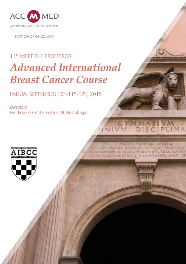 11th MEET THE PROFESSOR Advanced International Breast Cancer Course PADUA, SEPTEMBER 10th -11th -12th , 2015 Directors Pie...