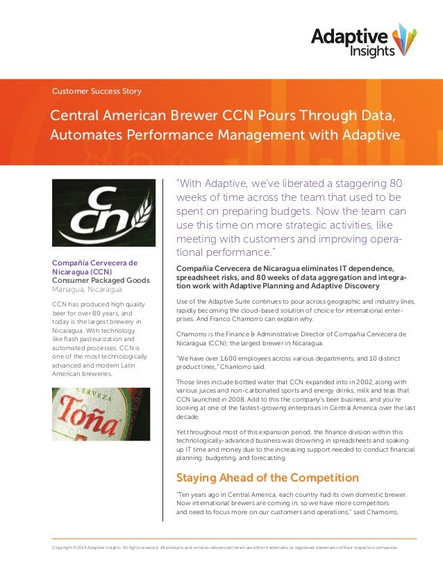 """Customer Success Story  Central American Brewer CCN Pours Through Data, Automates Performance Management with Adaptive """"Wi..."""