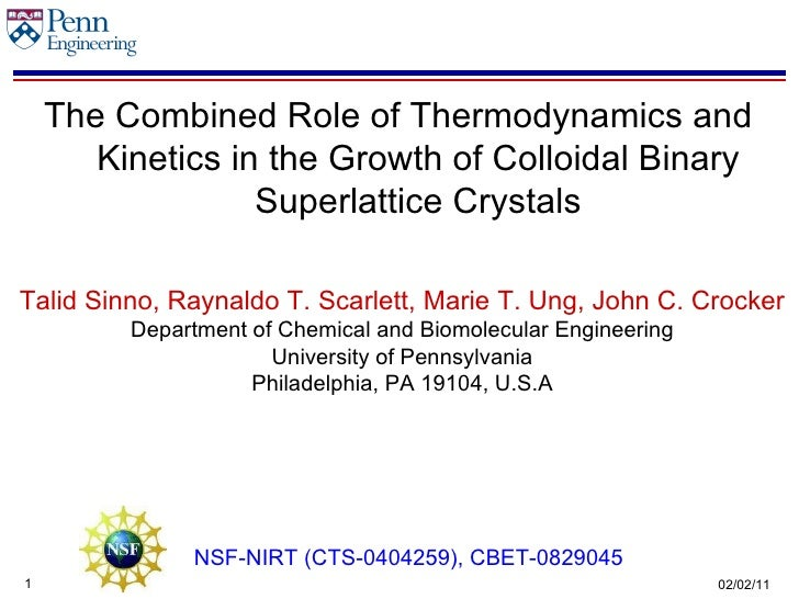 The Combined Role of Thermodynamics and Kinetics in the Growth of Colloidal Binary Superlattice Crystals Talid Sinno, Rayn...