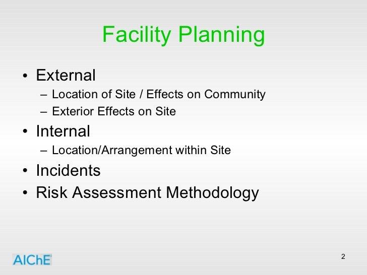 Facility Planning <ul><li>External </li></ul><ul><ul><li>Location of Site / Effects on Community </li></ul></ul><ul><ul><l...