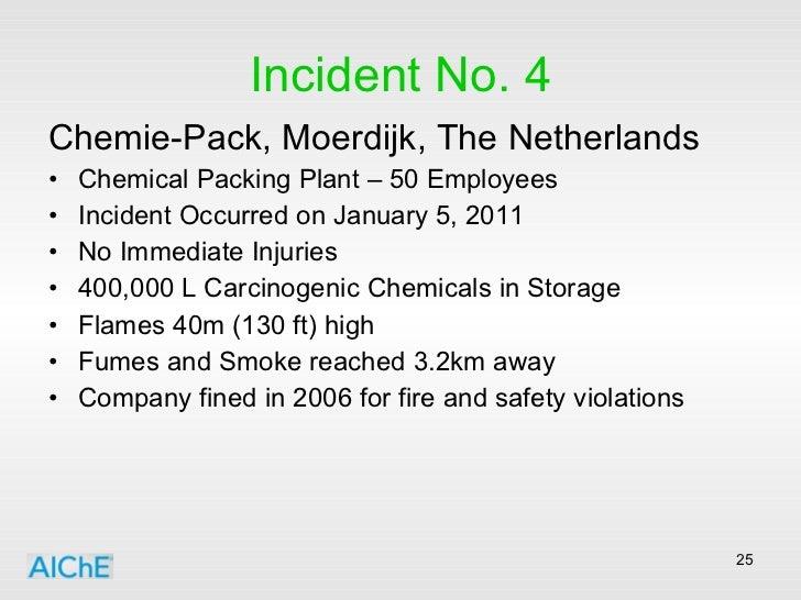 Incident No. 4 <ul><li>Chemie-Pack, Moerdijk, The Netherlands </li></ul><ul><li>Chemical Packing Plant – 50 Employees </li...