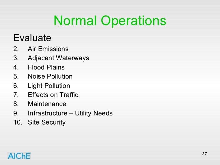Normal Operations <ul><li>Evaluate </li></ul><ul><li>Air Emissions </li></ul><ul><li>Adjacent Waterways </li></ul><ul><li>...