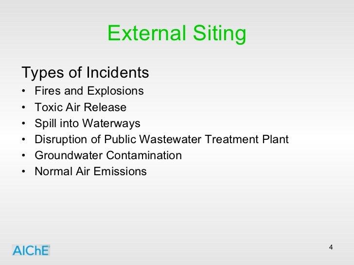 External Siting <ul><li>Types of Incidents </li></ul><ul><li>Fires and Explosions </li></ul><ul><li>Toxic Air Release </li...